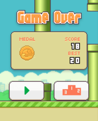 Flappy Bird for iOS Game Over Screen