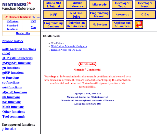 Official Nintendo 64 Development Kit Documentation