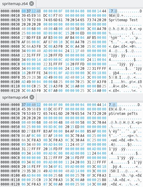 Hex Editor comparison of Z64 vs V64 formats